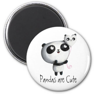 Cute Panda with Balloon 6 Cm Round Magnet