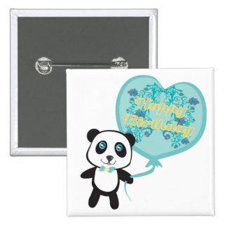 Cute panda with balloon Badge