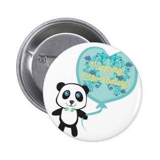 Cute panda with balloon Badge
