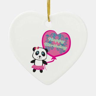 Cute panda with balloon Decoration Ceramic Heart Decoration