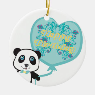 Cute panda with balloon Decoration Round Ceramic Decoration