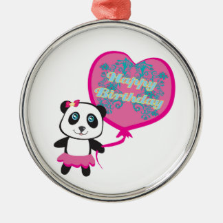 Cute panda with balloon Decoration Silver-Colored Round Decoration