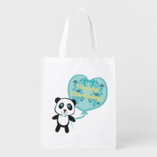 Cute panda with balloon Reusable Grocery Bag