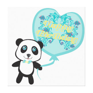 Cute panda with balloon Stretched Canvas Print