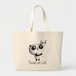 Cute Panda with Balloon Jumbo Tote Bag
