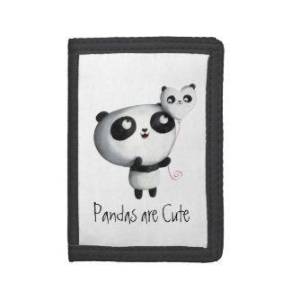 Cute Panda with Balloon Tri-fold Wallet