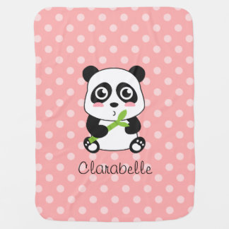 Cute Panda with Bamboo, Pink Polka Dots Baby Blanket