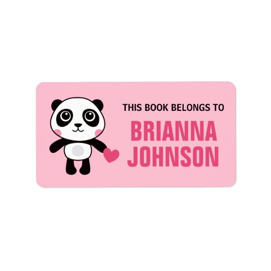 Cute panda with heart animal bookplate book label