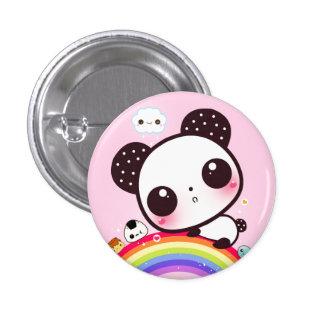 Cute panda with kawaii food on rainbow 3 cm round badge