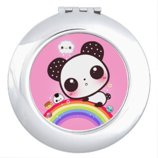 Cute panda with kawaii food on rainbow makeup mirrors