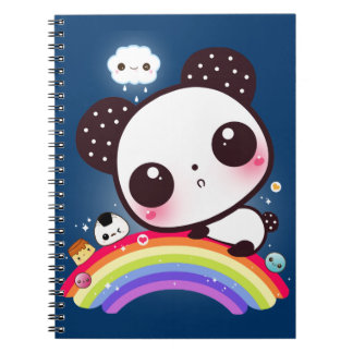 Cute panda with kawaii food on rainbow note books