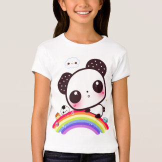 Cute panda with kawaii food on rainbow T-Shirt