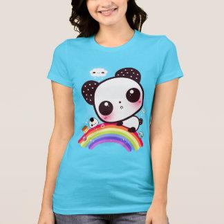 Cute panda with kawaii food on rainbow shirts
