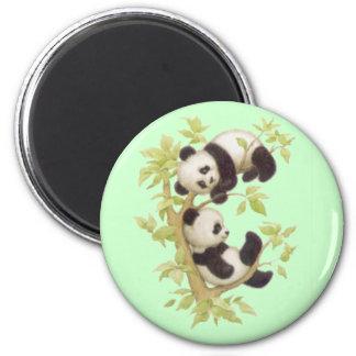Cute Pandas 6 Cm Round Magnet