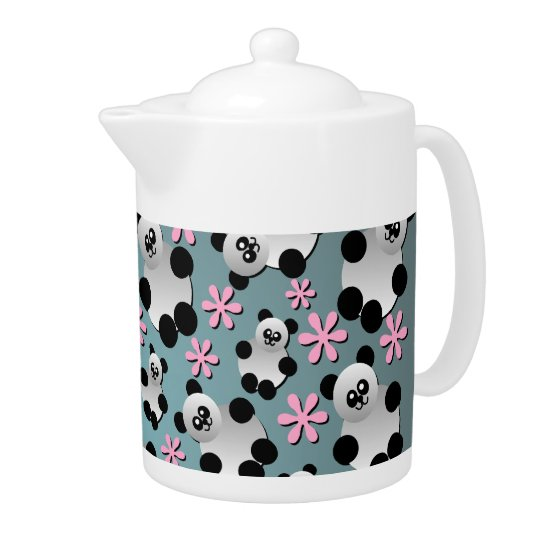 Cute Pandas and Flowers Teapot