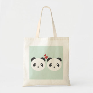 Cute pandas budget tote bag