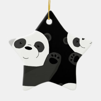 Cute pandas christmas ornament