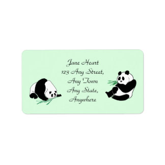 Cute Pandas With Bamboo Shoots Avery Labels