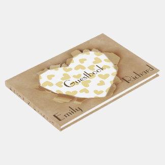 Cute Paper Heart Rustic Wedding Reception Guest Book
