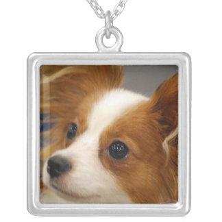 Cute Papillon Dog Square Pendant Necklace