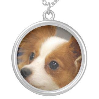 Cute Papillon Dog Round Pendant Necklace