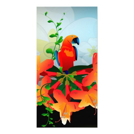 Cute parrot photo card template