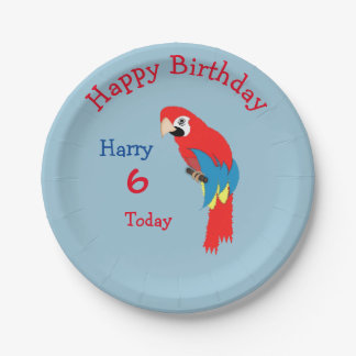 Cute Parrot Pirate Themed Birthday Party Paper Plate
