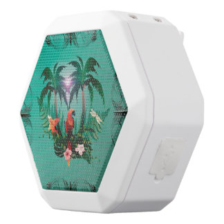 Cute parrot with flowers and palm white boombot rex bluetooth speaker