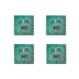 Cute parrot with flowers and palm stone magnet