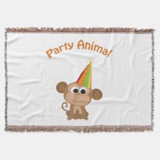 Cute Party Animal Monkey Throw Blanket