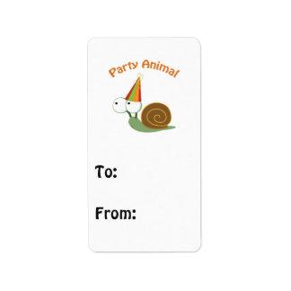 Cute Party Animal Snail Address Label