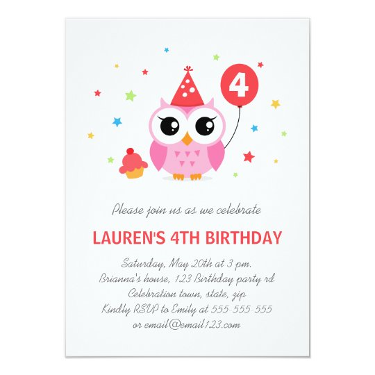 Cute party owl with balloon and cupcake birthday