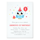 Cute party owl with balloon and cupcake birthday personalised invitations