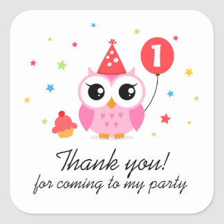 Cute party owl with balloon birthday thank you square sticker