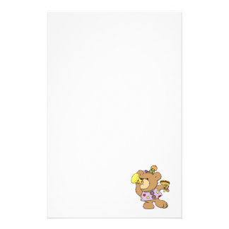 cute party teddy bear with noise makers personalized stationery