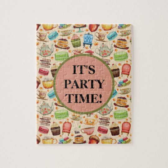 Cute Party Time Colourful Cupcakes and Teapots Jigsaw