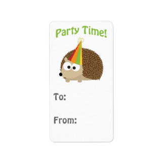 Cute Party Time Hedgehog Address Label