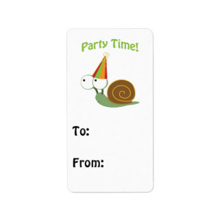 Cute Party Time Snail Address Label