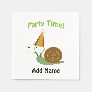Cute Party Time Snail Paper Napkin
