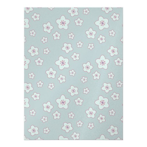 Cute Pastel Blue Cherry Blossom Pattern Personalized Invitations