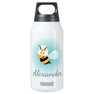 Cute Pastel Blue Green Sweet Bumble Bee Cartoon Insulated Water Bottle