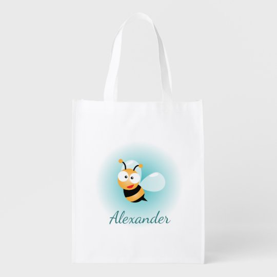 Cute Pastel Blue Green Sweet Bumble Bee Cartoon