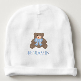 Cute Pastel Blue Ribbon Sweet Teddy Bear Baby Boy Baby Beanie