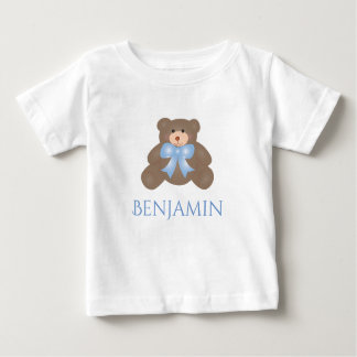 Cute Pastel Blue Ribbon Sweet Teddy Bear Baby Boy Baby T-Shirt
