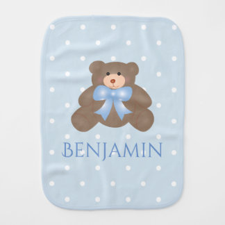 Cute Pastel Blue Ribbon Sweet Teddy Bear Baby Boy Burp Cloth
