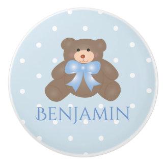 Cute Pastel Blue Ribbon Sweet Teddy Bear Baby Boy Ceramic Knob