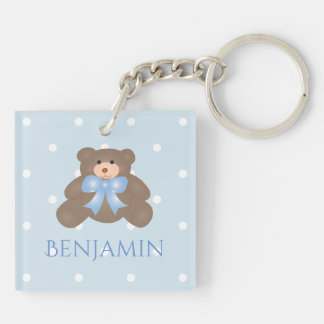 Cute Pastel Blue Ribbon Sweet Teddy Bear Baby Boy Double-Sided Square Acrylic Key Ring