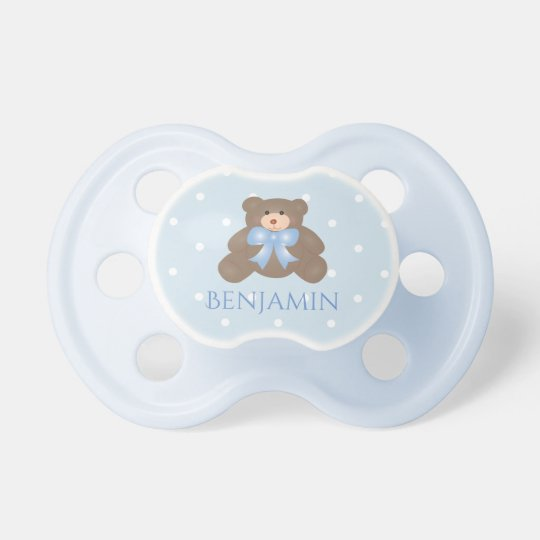 Cute Pastel Blue Ribbon Sweet Teddy Bear Baby