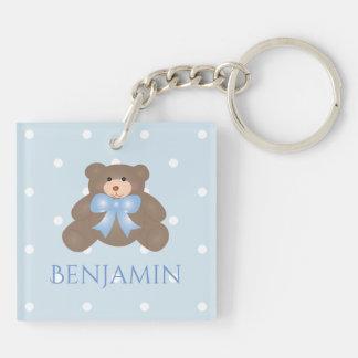 Cute Pastel Blue Ribbon Sweet Teddy Bear Baby Boy Key Ring