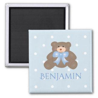 Cute Pastel Blue Ribbon Sweet Teddy Bear Baby Boy Magnet